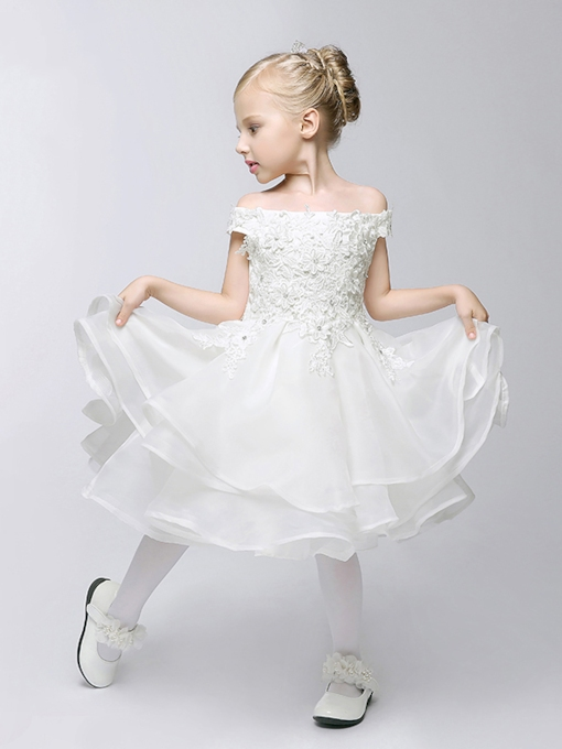 Off-The-épaule autocollantes dentelle robe de bal Flower Girl Dress