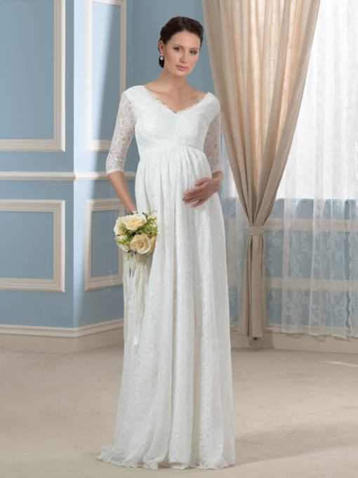 V-Neck Empire Lace Pregnant Maternity Long Wedding Dress