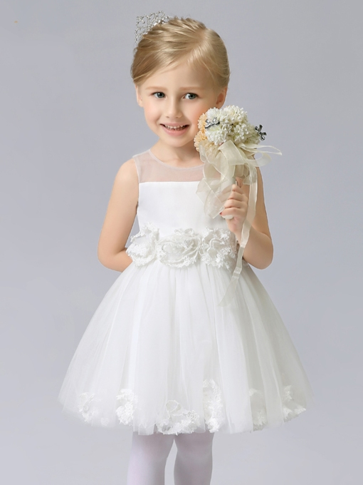 Scoop Neck Zipper-Up Short Flower Girl Dress