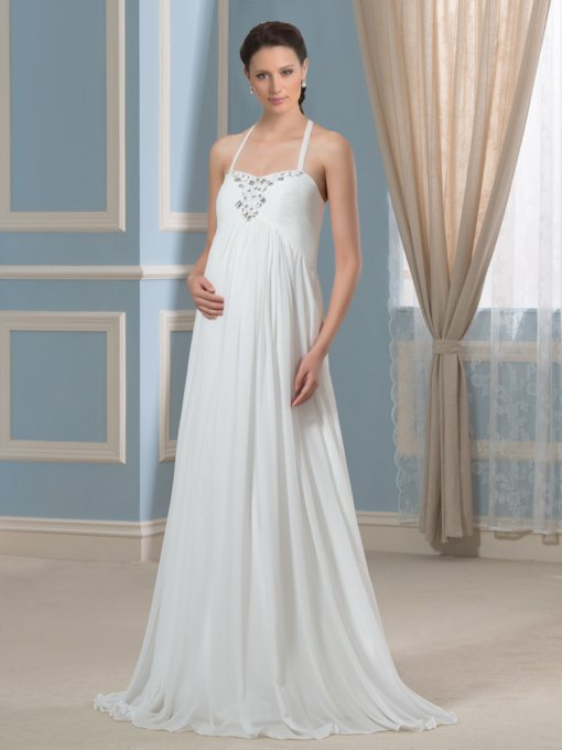Halter Neck Beading Maternity Wedding Dress