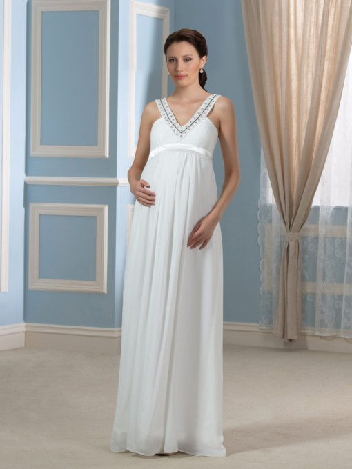 Beaded V-Neck Empire Waist Maternity Wedding Dress