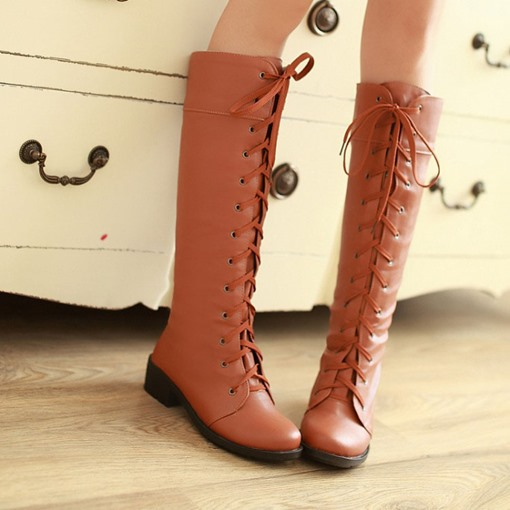 Square Heel Lace-Up Front Round Toe Knee-High Women's Boots