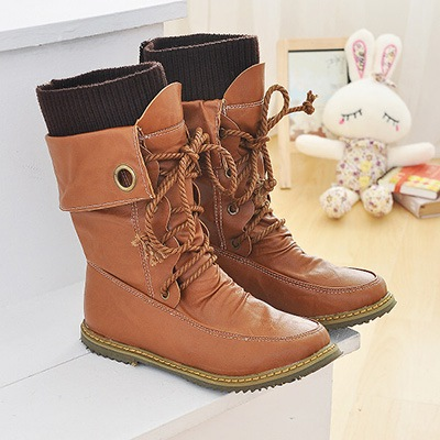 Round Toe Lace-Up Front Flat Heel Ankle Women's Boots