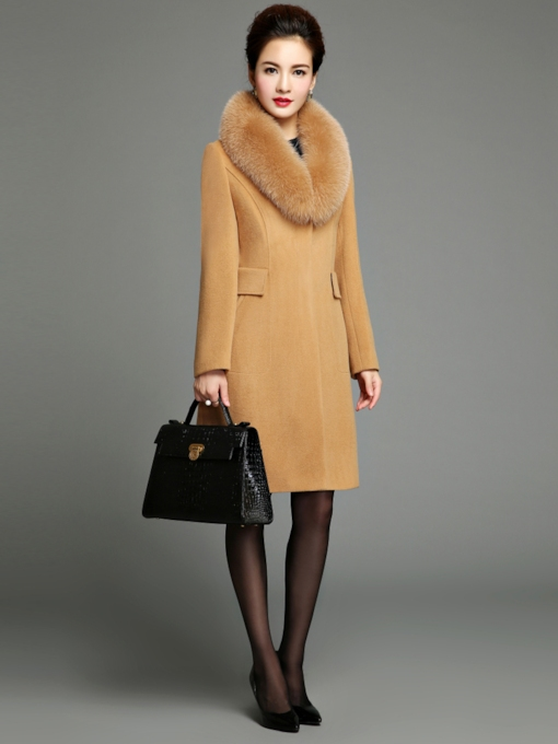 Polo Neck Slim with Big Faux Fur Lapel Long Woolen Women's Overcoat