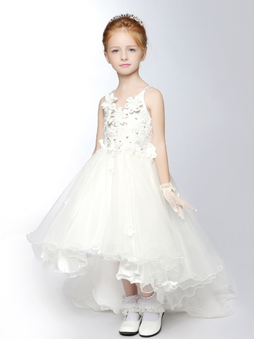 V-Neck Ball Gown Asymmetric Flower Girl Dress
