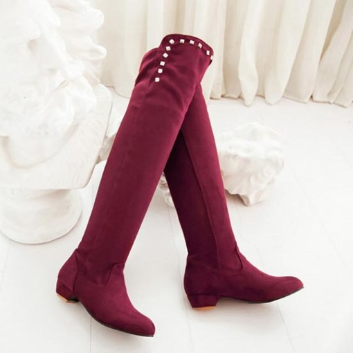 Chunky Heel Rivet Short Floss Over-the-Knee Boots