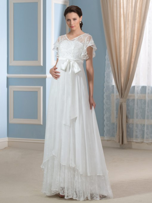 Sequins Lace Cap Sleeves Maternity Wedding Dress