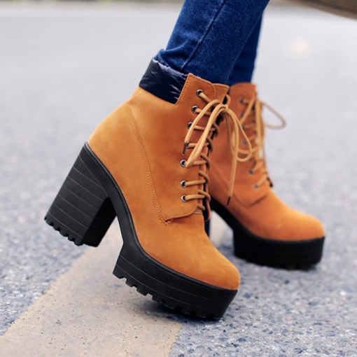 Chunky Heel Lace-Up Front Plain Round Toe Ankle Boots