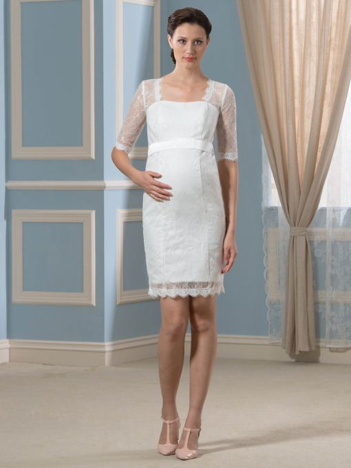 Square Neck Half Sleeve Lace Maternity Wedding Dress