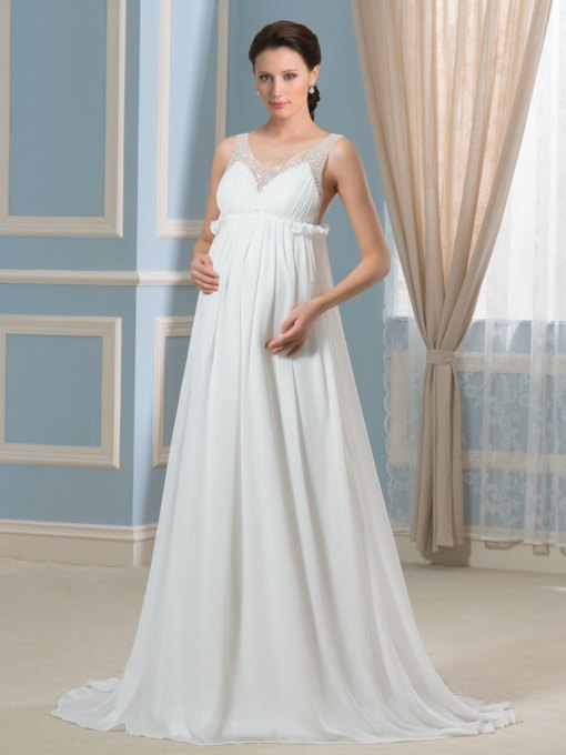 Beading V-Neck Empire Waist Maternity Wedding Dress