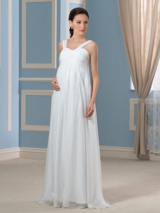 Straps Empire Waist Pleats Maternity Wedding Dress