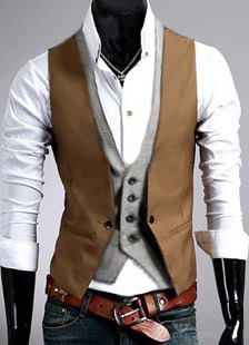 Patchwork One Button Two-Piece Men's Vest