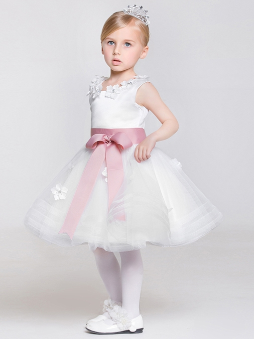Beading Sash Bowknot Short Flower Girl Dress