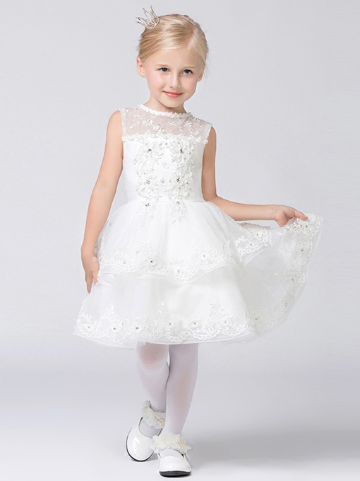 Scoop Neck Tiered Lace Ball Gown Flower Girl Dress