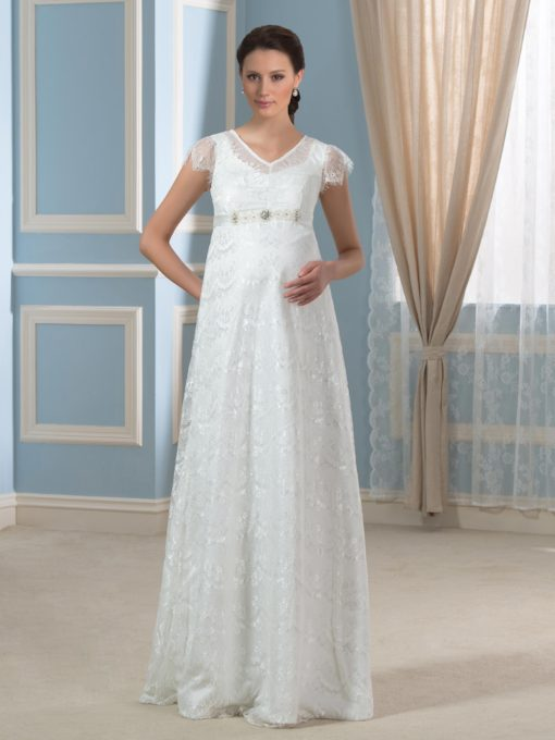 V-Neck Lace Cap Sleeve Floor-Length Maternity Wedding Dress