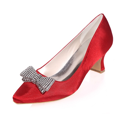 Pointed Toe Bowtie Rhinestone Stiletto Heel Women's Wedding Shoes