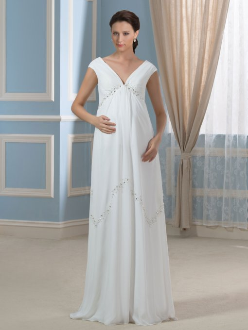 Empire Waist V-Neck A-Line Chiffon Pregnant Maternity Wedding Dress