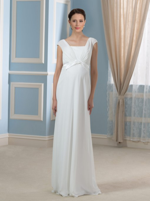Simple Pregnant A-Line Chiffon Empire Waist Maternity Wedding Dress