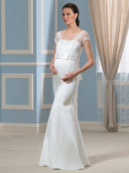 Lace V-Neck Cap Sleeves Mermaid Pregnant Maternity Wedding Dress