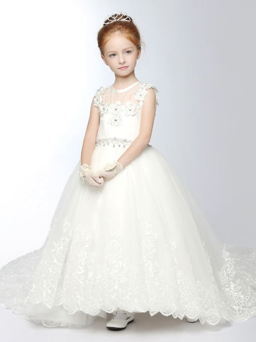 Scoop Neck Appliques Chapel Train Flower Girl Dress
