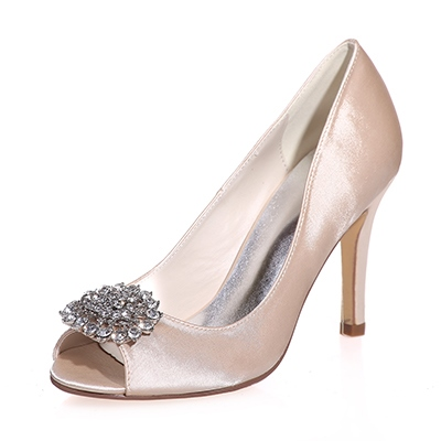 Rhinestone Stiletto Heel Peep Toe Women's Wedding Shoes