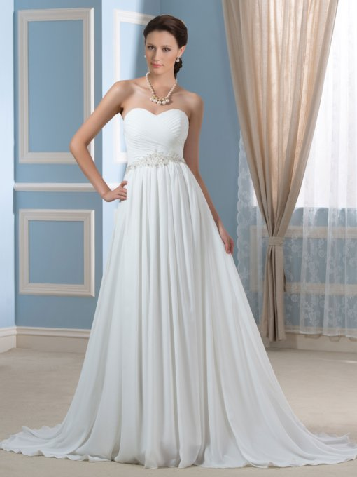 Sweetheart Beaded Pleats Chiffon Beach Wedding Dress