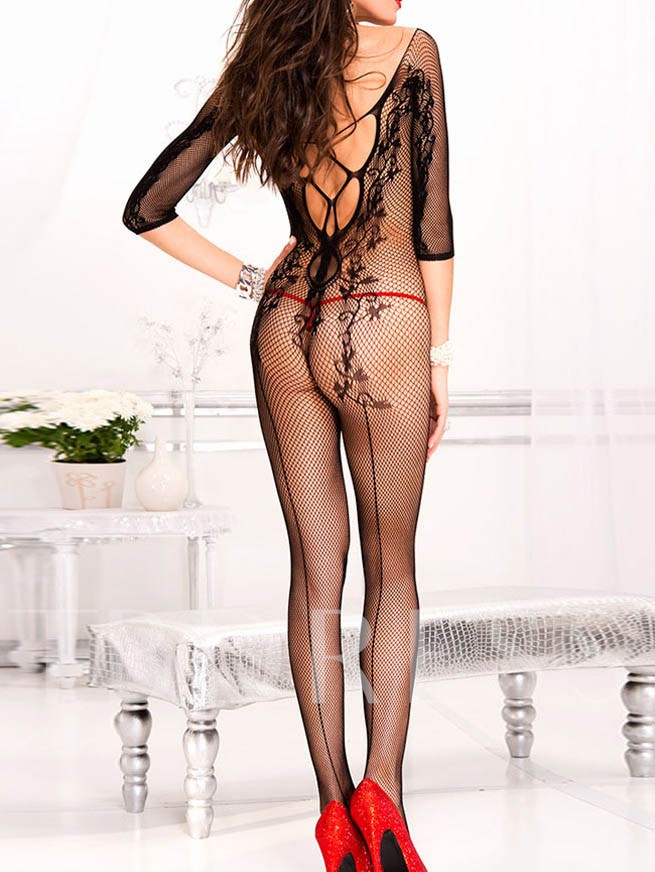Sexy Black Fishnet Hollow Out Open Crotch Pantyhose