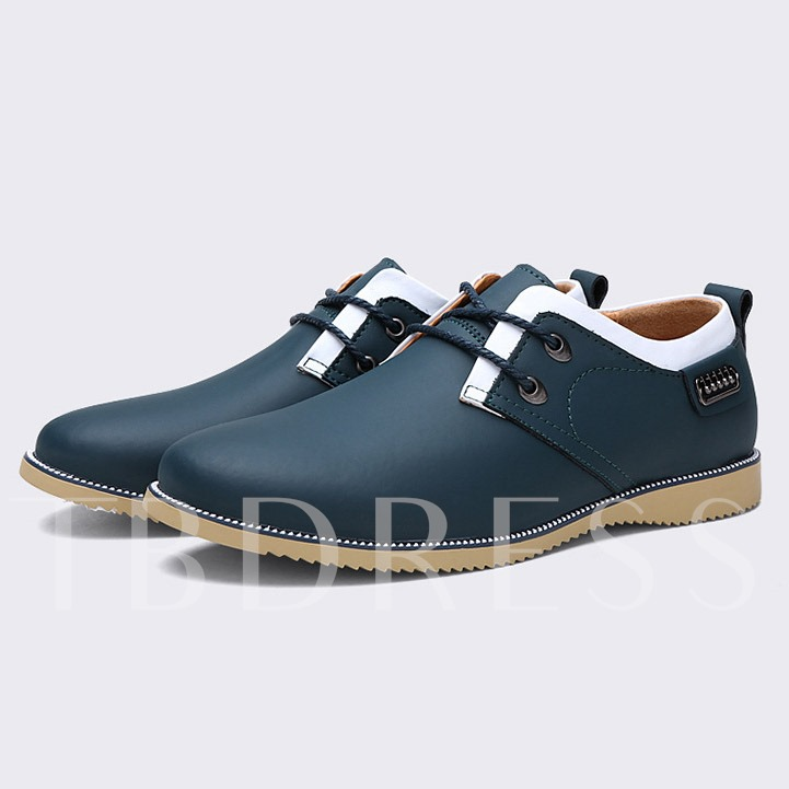 Round Toe Color Block Lace-Up Front Men's Loafers