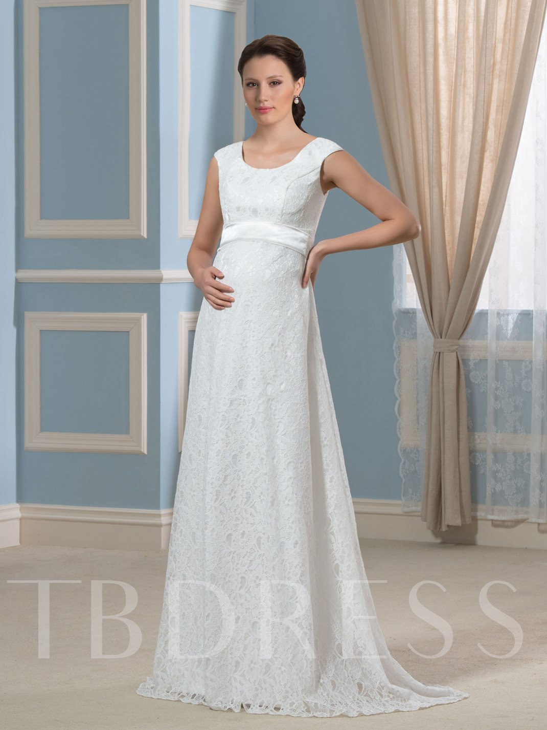 Pregnancy A Line Lace Empire Waist Maternity Wedding Dress