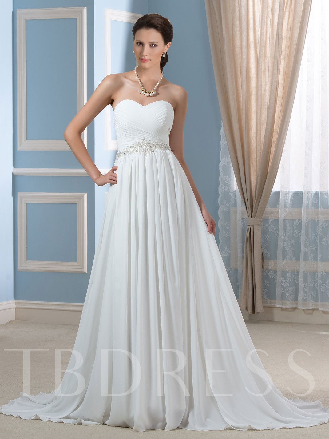 Beaded pleated chiffon a line strapless maternity wedding for Maternity dress for a wedding