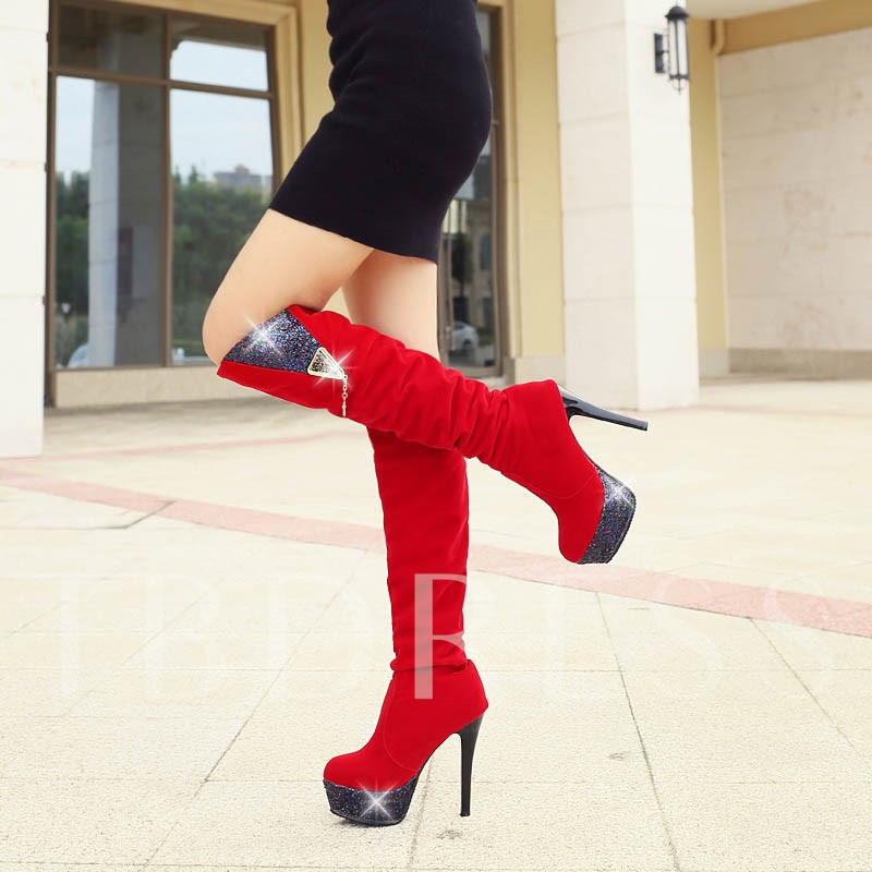 Platform Short Floss Sequins Slip-On Round Toe Knee-High Women's Boots