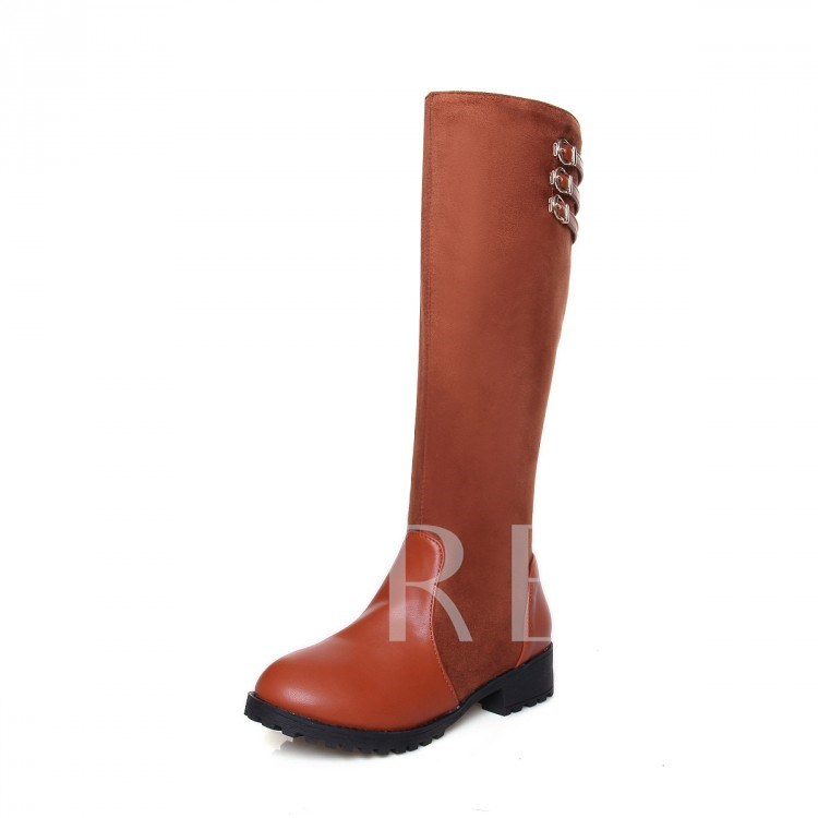 Square Mid Heel Side Zipper Round Toe Knee-High Women's Boots