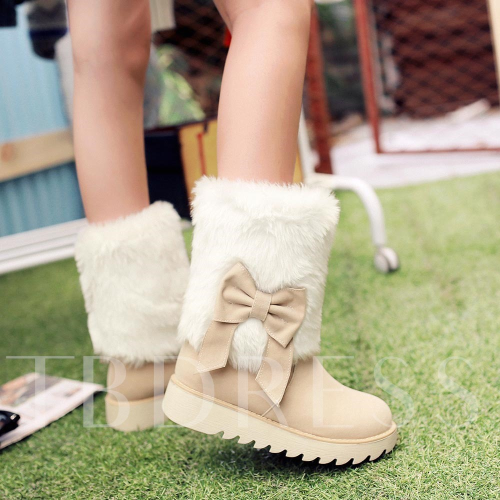 Short Floss Bowtie Slip-On Round Toe Ankle Women's Snow Boots