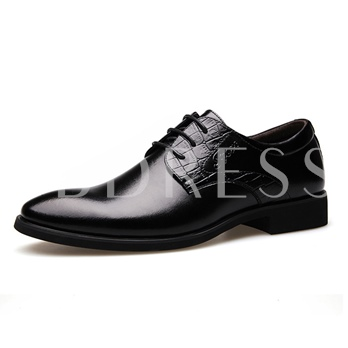 Lace-Up Front Square Heel Pointed Men's Oxfords