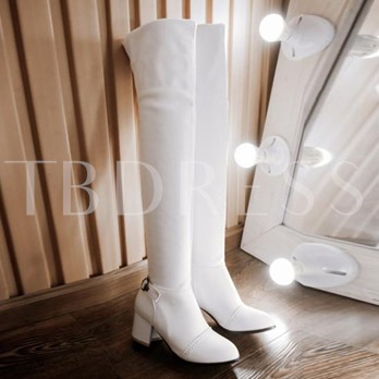 Pointed Toe Square Heel Short Floss Slip-On Over-the-Knee Women's Boots