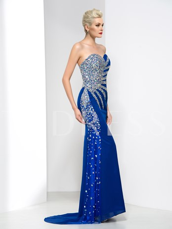 Sweetheart Beaded Sequins Mermaid Evening Dress