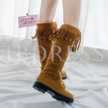 Cross Strap Round Toe Tassel Lace-Up Front Knee-High Women's Snow Boots