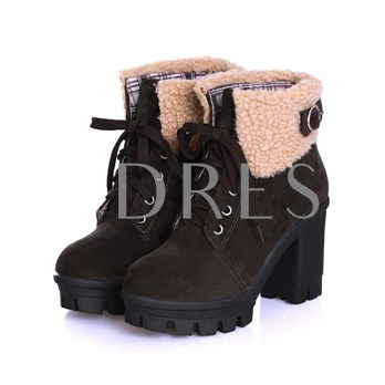 Platform Round Toe Lace-Up Front Chunky Heel Short Floss Women's Ankle Boots