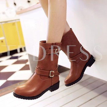Short Floss Round Toe Slip-On Square Heel Buckle Women's Ankle Boots