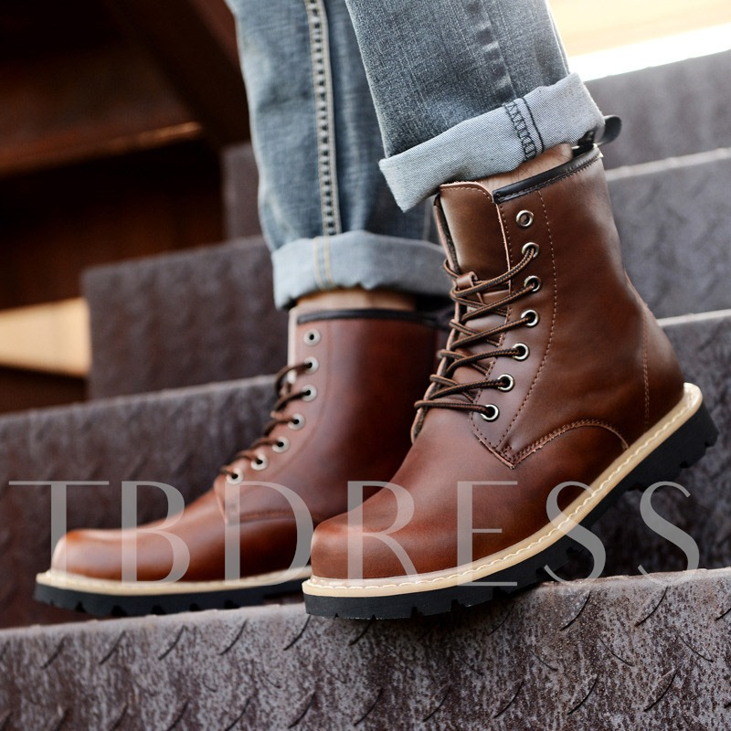 Lace-Up Front Round Toe Square Heel Ankle Men's Boots