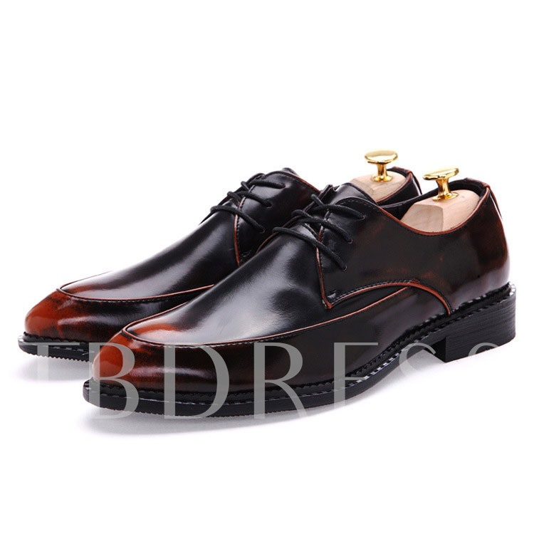 Square Heel Pointed Toe Low Upper Men's Oxfords