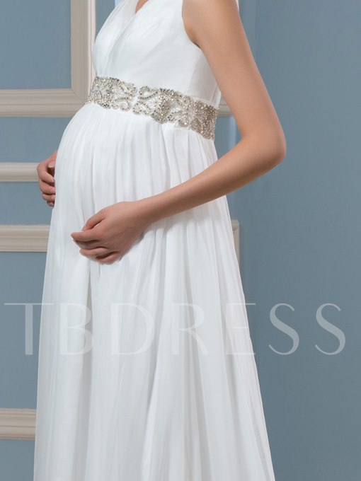V-Neck Beading Empire Waist Maternity Wedding Dress
