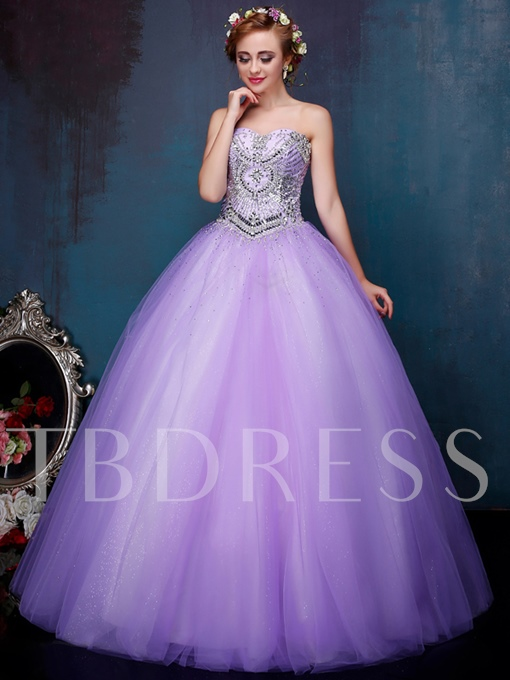 Sweetheart Ball Gown Rhinestone Beading Quinceanera Dress