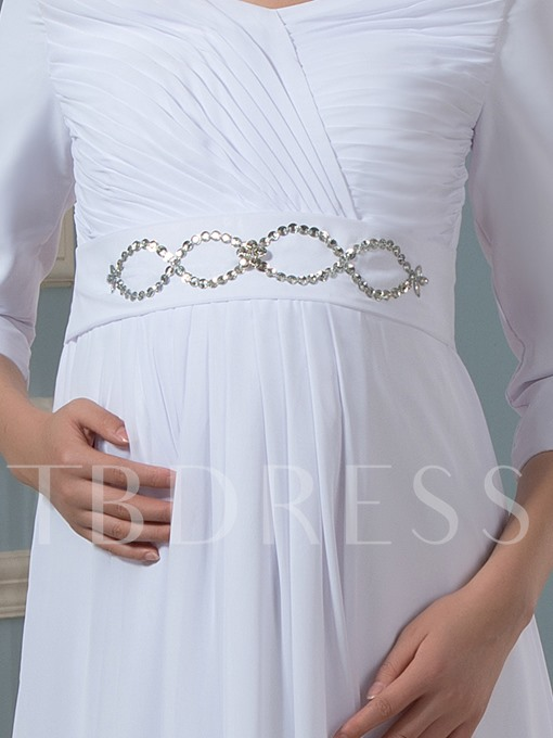 3/4 Length Sleeve Beaded Maternity Wedding Dress