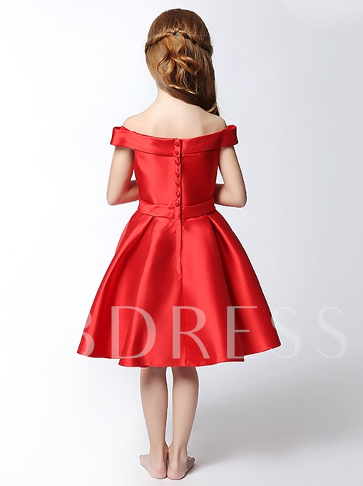 Off-The-Shoulder Bowknot Red Flower Girl Dress