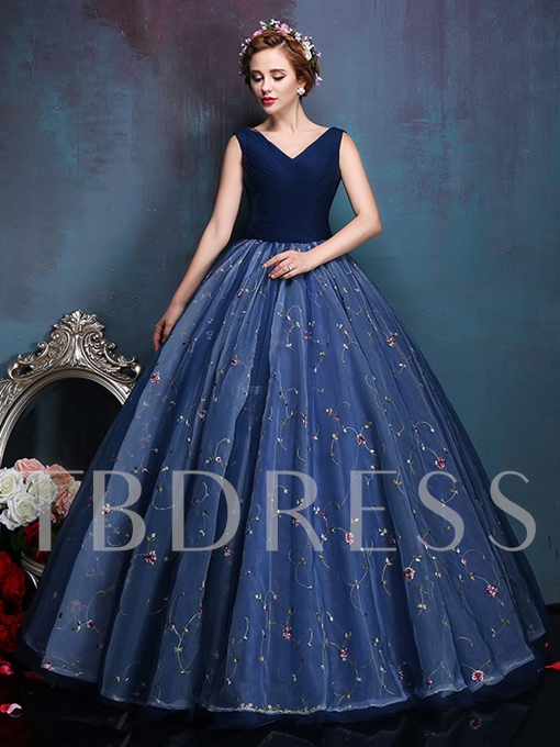 V-Neck Ball Gown Embroidery Long Quinceanera Dress