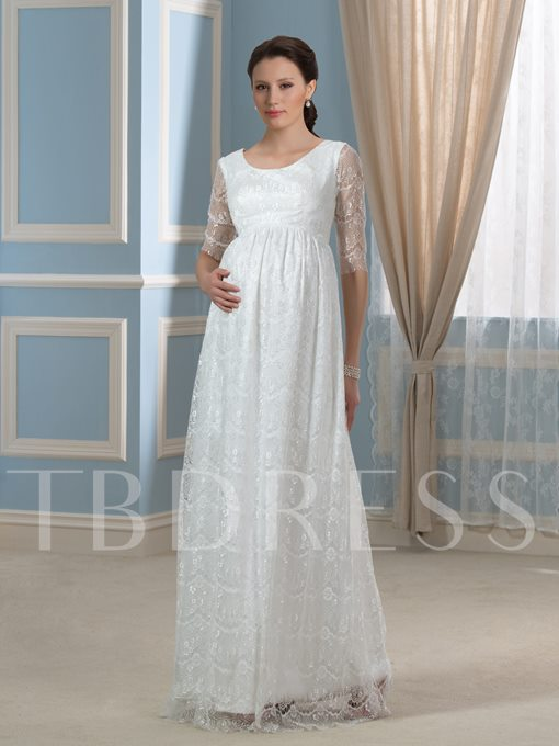 Empire Waist Half Sleeve Lace Maternity Wedding Dress
