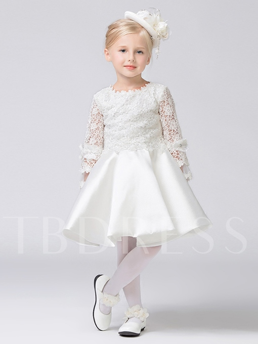 Lace Long Sleeves Bowknot Flower Girl Dress