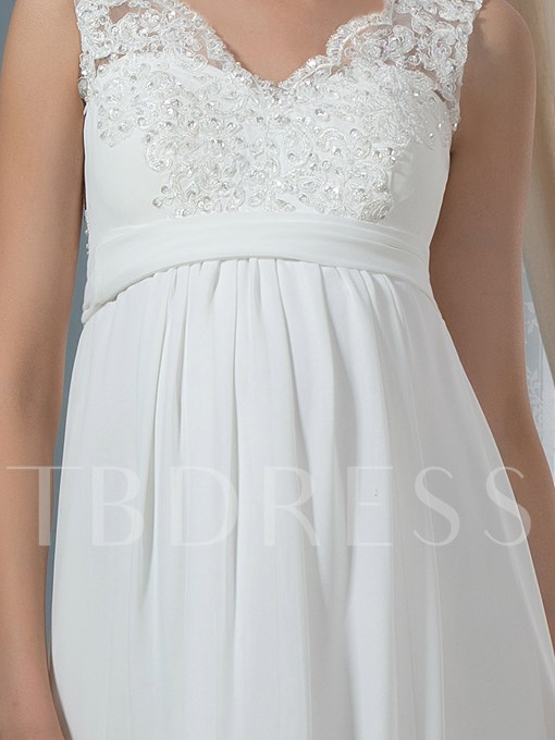 V-Neck Empire Waist Beaded Appliques A-Line Chiffon Maternity Wedding Dress