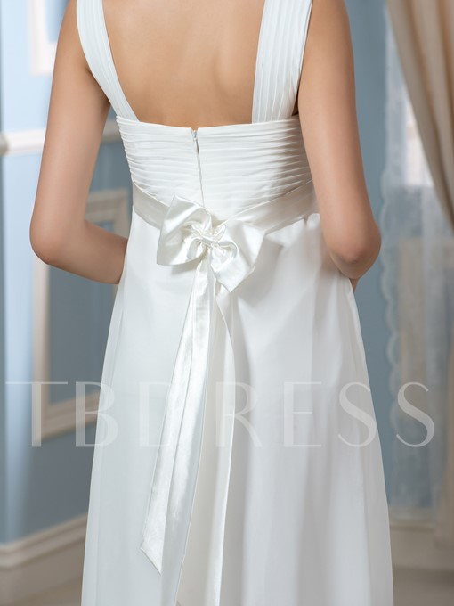 Beaded V-Neck Empire Waist A-Line Pregnant Maternity Wedding Dress